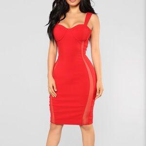 Sexy red thigh dress